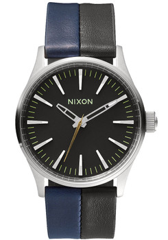 Nixon Sentry 38 Leather Black/Navy Blue