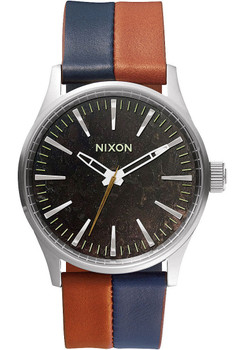 Nixon Sentry 38 Leather Copper/Navy Blue