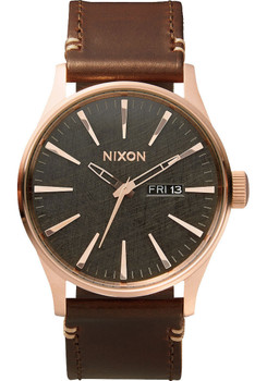 Nixon Sentry Leather Rose Gold/Gunmetal