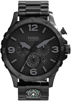 Fossil JR1489 Nate Chronograph Compass Blackout
