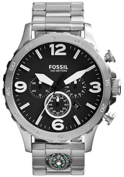 Fossil JR1490 Nate Chronograph Compass Silver/Black