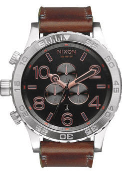 Nixon 51-30 Chrono Leather Gray Rose Gold