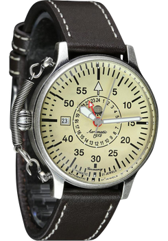 Aeromatic Military Luminous Automatic Raw Steel Brown