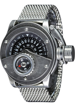 Retrowerk Jump Hour Compass Raw Steel Mesh