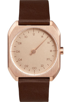 Slow Mo 10 One Hand Dark Brown Leather Rose Gold