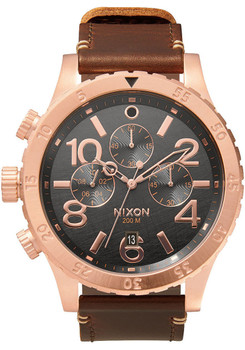 Nixon 48-20 Chrono Leather Rose Gold/Brown