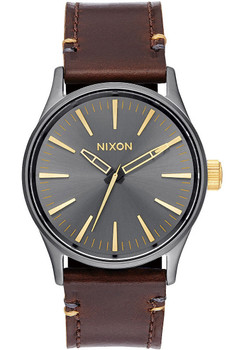 Nixon Sentry 38 Leather Gunmetal/Gold