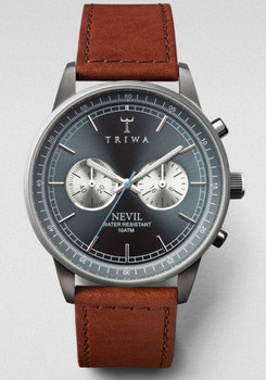 Triwa Ash Nevil Chrono Gunmetal/Brown Sewn Classic