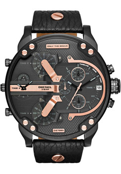 Diesel Mr. Daddy 2.0 Multifunction Leather Watch -Rose Gold/Black