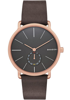 Skagen Hagen Sub-Seconds Leather Watch Rose Gold SKW6213
