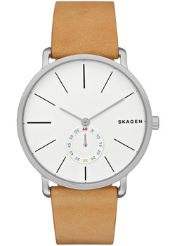 Skagen Hagen Sub-Seconds Steel Leather Watch Tan/White SKW6215