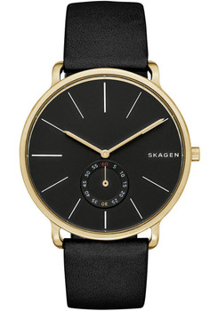Skagen Hagen Sub-Seconds Leather Watch Black/Gold SKW6217