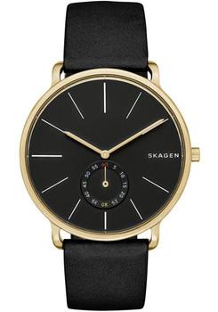 Skagen Hagen Sub-Seconds Leather Watch Black/Gold SKW6217
