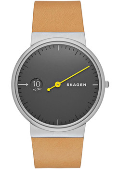 Skagen Ancher Mono Tan Leather Watch Grey SKW6194