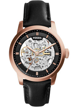 Fossil Townsman Automatic Rose Gold Black Leather Watch ME3084