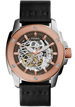 Fossil Modern Machine Automatic Skeleton Rose Gold Steel Black Leather Watch ME3082