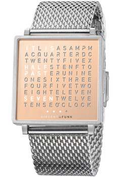 Qlocktwo W Copper Time In Words Stainless Steel Mesh
