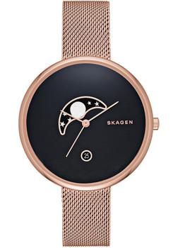 Skagen Gitte Moon Phase Rose Gold Mesh Watch SKW2371