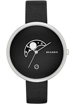 Skagen Gitte Moon Phase Leather Watch Black SKW2372