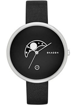 Skagen Gitte Moon Phase Leather Watch Black SKW2372