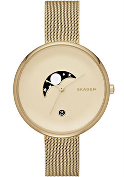 Skagen Gitte Moon Phase Yellow Gold Mesh Watch SKW2373