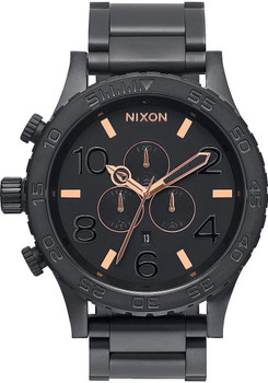 Nixon 51-30 Chrono Black Steel Rose Gold