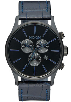 Nixon Sentry Chrono Gator Leather Navy