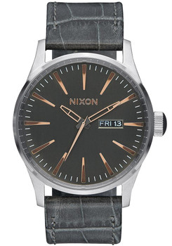 Nixon Sentry Gator Leather Gray
