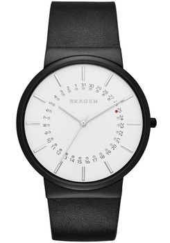 Skagen Ancher Leather Date Black/White