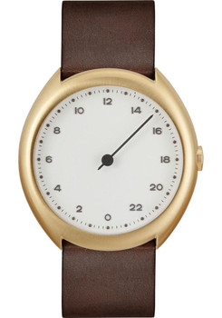 Slow O 12 24 Hour One Hand Vintage Leather Gold White