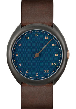 Slow O 14 24 Hour One Hand Vintage Leather Anthracite Blue
