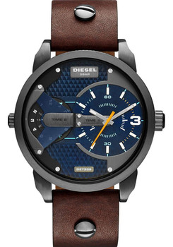 Diesel DZ7339 Mini Daddy Dual Time Zone Blue/Brown/Gunmetal