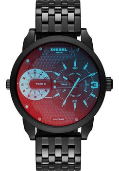 Diesel DZ7340 Mini Daddy Dual Time Zone Black/Red/Blue