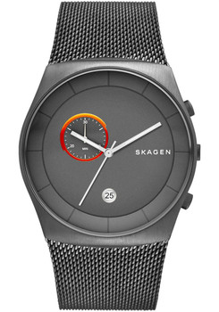 Skagen Havene Steel Mesh Chronograph Gunmetal/Orange SKW6186