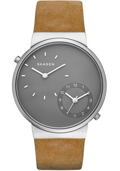 Skagen Ancher Dual-Time Leather Watch Grey/Tan SKW6190