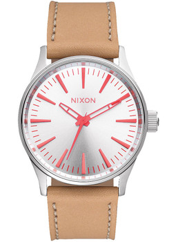 Nixon Sentry 38 Leather Silver/Bright Coral (A3772089)