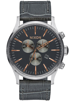 Nixon Sentry Chrono Leather Gray Gator