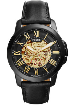 Fossil Grant Leather Automatic Black/Gold