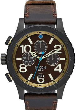 Nixon 48-20 Chrono Leather All Black Brass
