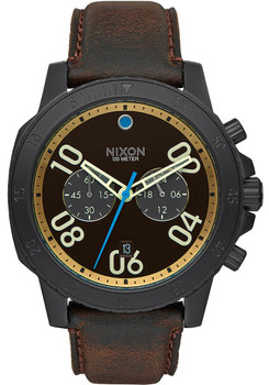 Nixon Ranger Chrono Leather All Black/Brown/Brass