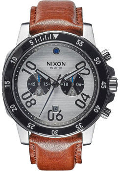 Nixon Ranger Chrono Leather Silver Saddle