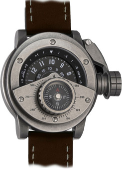 Retrowerk Compass Automatic worn Steel/Brown Leather