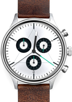 Cronometrics Engineer L12 Brushed Steel Brown Leather