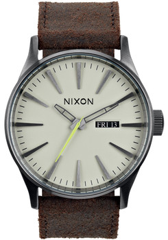Nixon Sentry Leather Gunmetal/Brown