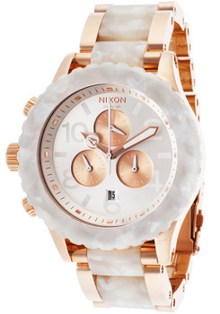 Nixon 42-20 Chrono Rose Gold/White