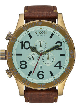 Nixon 51-30 Chrono Leather Brass/Green Crystal