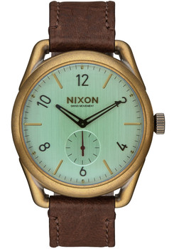 Nixon C39 Leather Brass/Green Crystal