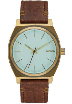 Nixon Time Teller Leather Brass/Green Crystal