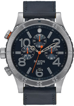Nixon 48-20 Chrono Leather Blue/Orange (A363863)