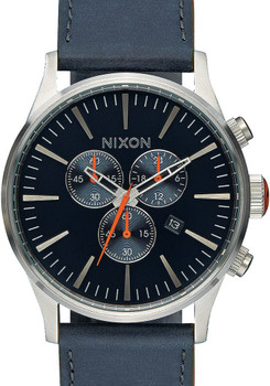 Nixon Sentry Chrono Leather Blue/Orange